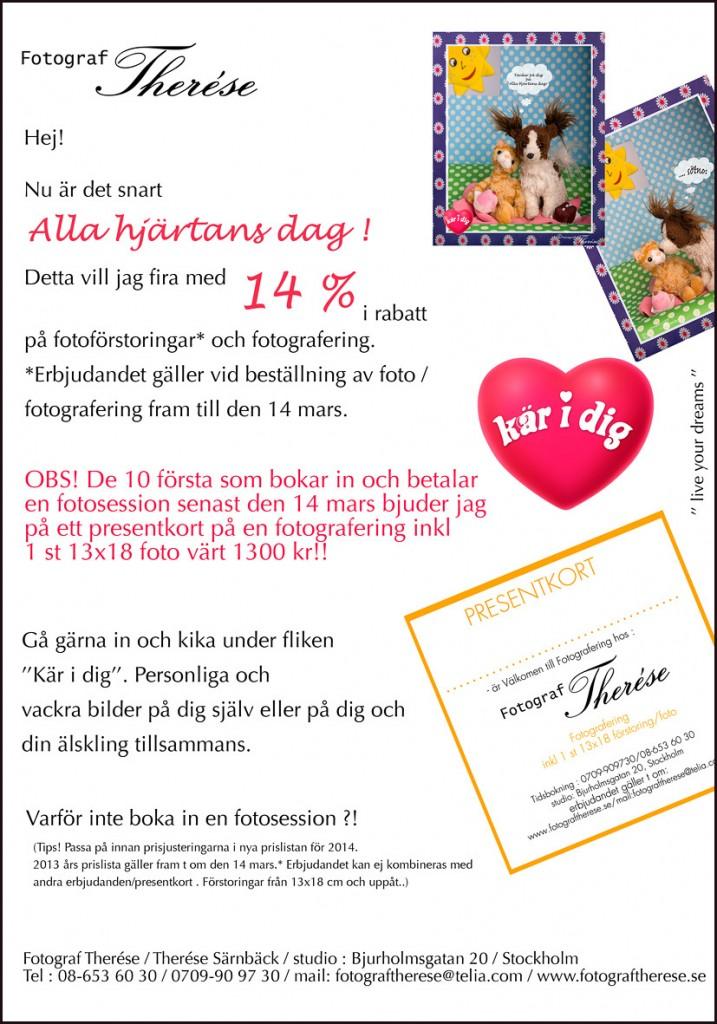 Alla hjärtans dag fotoerbjudande! Valentine card photo offer